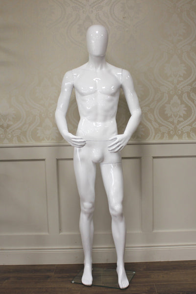 White Gloss Male Mannequin Hands In Front