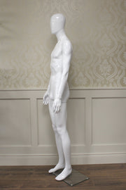 White Gloss Male Mannequin Hands By Side