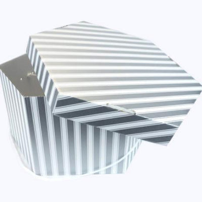 Silver Striped Hat Box
