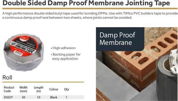 Double Sided Damp Proof Membrane Jointing Tape 10m x 50mm
