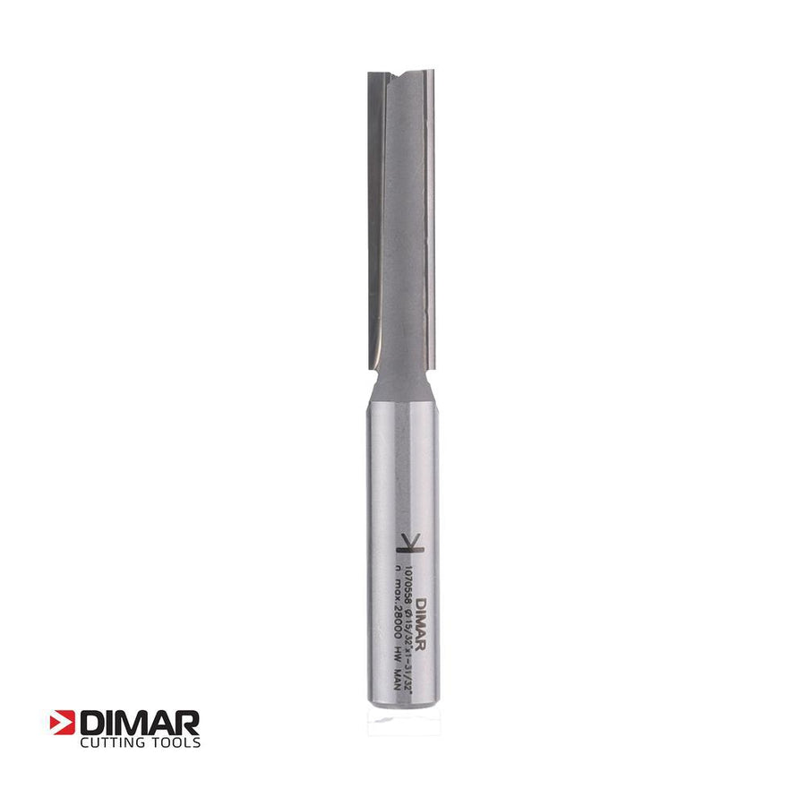 "Straight Two Flute Cutter - 12mm Diameter x 50mm Depth of Cut - 1/2"" Shank - DIMAR"