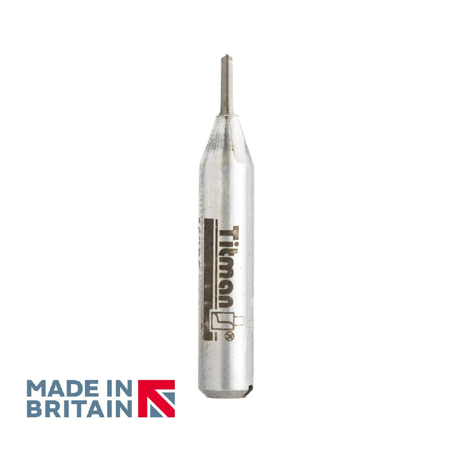 "1/4"" Shank 2mm Diameter Double Flute Straight Cutter - Made in Britain by Titman Tools - 306QTC"