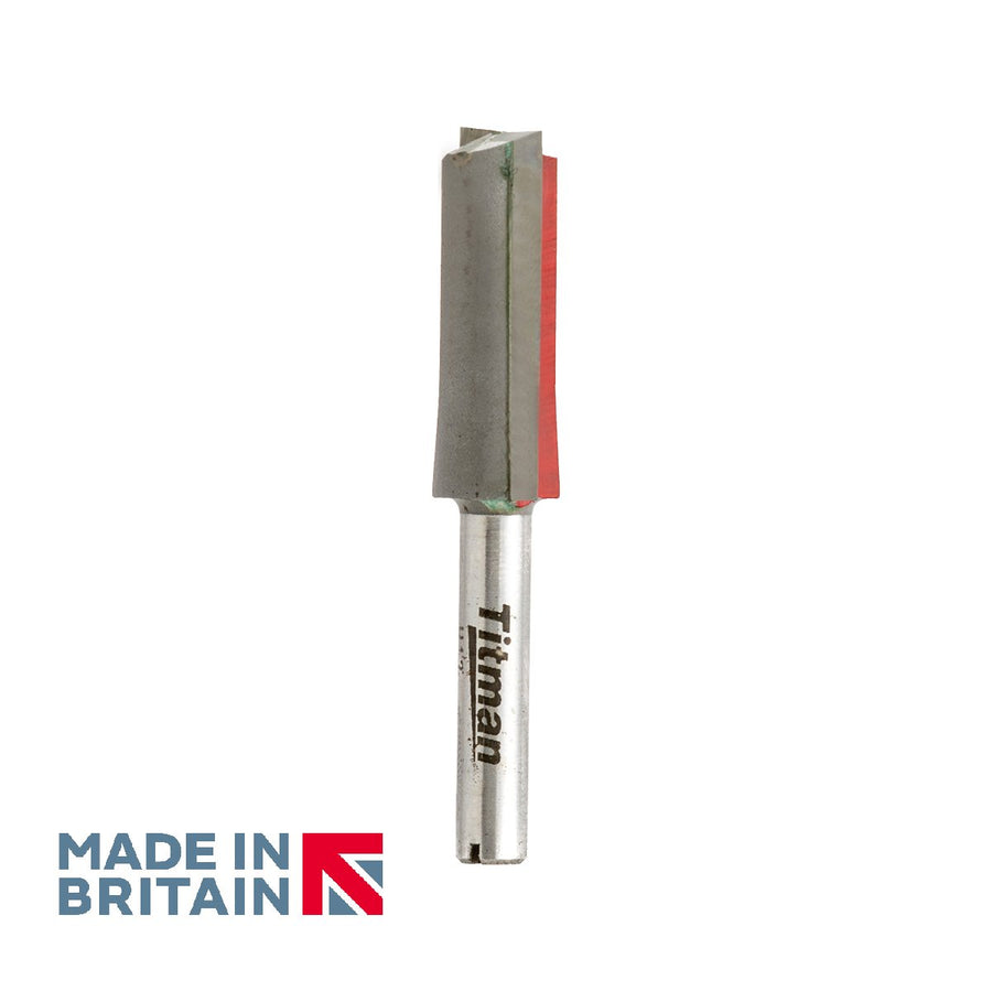 "1/4"" Shank Double Flute Straight Cutter - Made in Britain by Titman Tools - 308QTC"