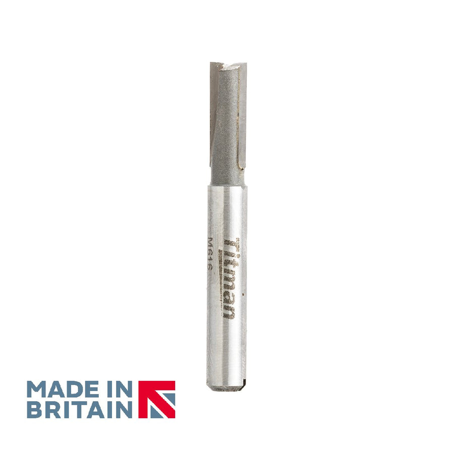 "1/4"" Shank 6mm Diameter Double Flute Straight Cutter - Made in Britain by Titman Tools - 32QTC"