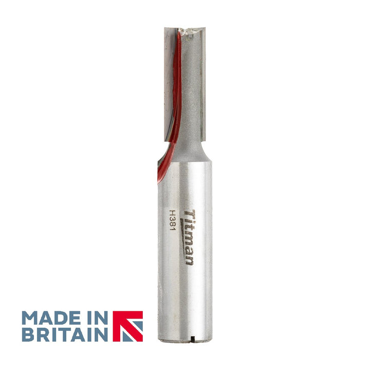 "1/2"" Shank Double Flute Straight Cutter - Made in Britain by Titman Tools - 350HTC"