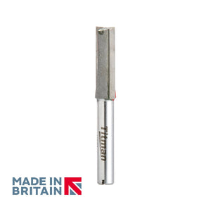 "1/4"" Shank 9.5mm Diameter Double Flute Straight Cutter - Made in Britain by Titman Tools - 350QTC"