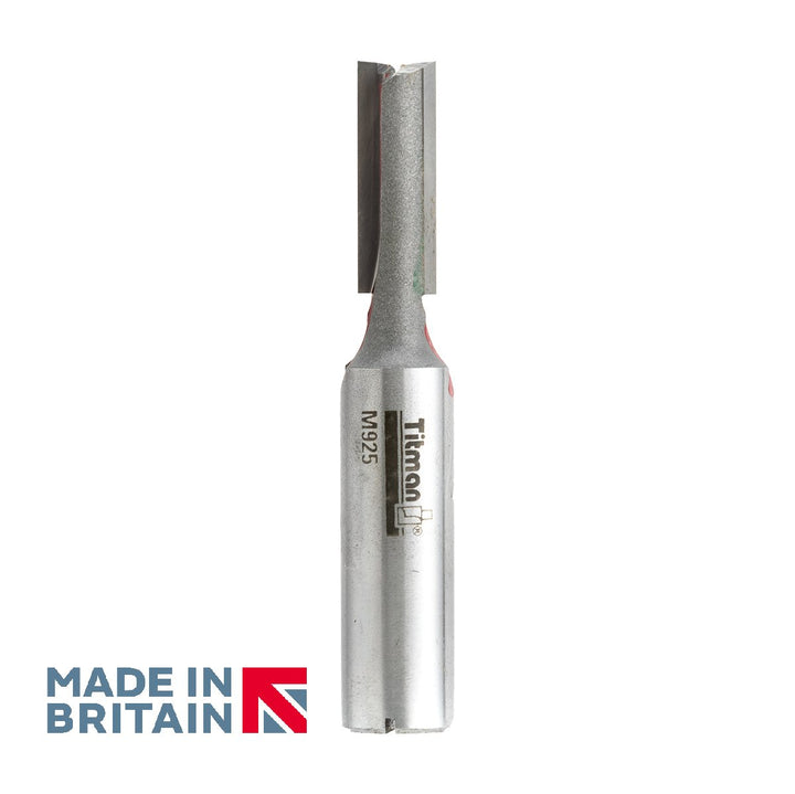 "1/2"" Shank 9mm Diameter Double Flute Straight Cutter - Made in Britain by Titman Tools - 341HTC"
