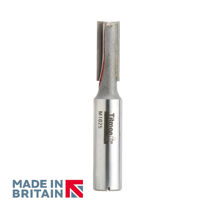 "1/2"" Shank 10mm Diameter Double Flute Straight Cutter - Made in Britain by Titman Tools - 361HTC"