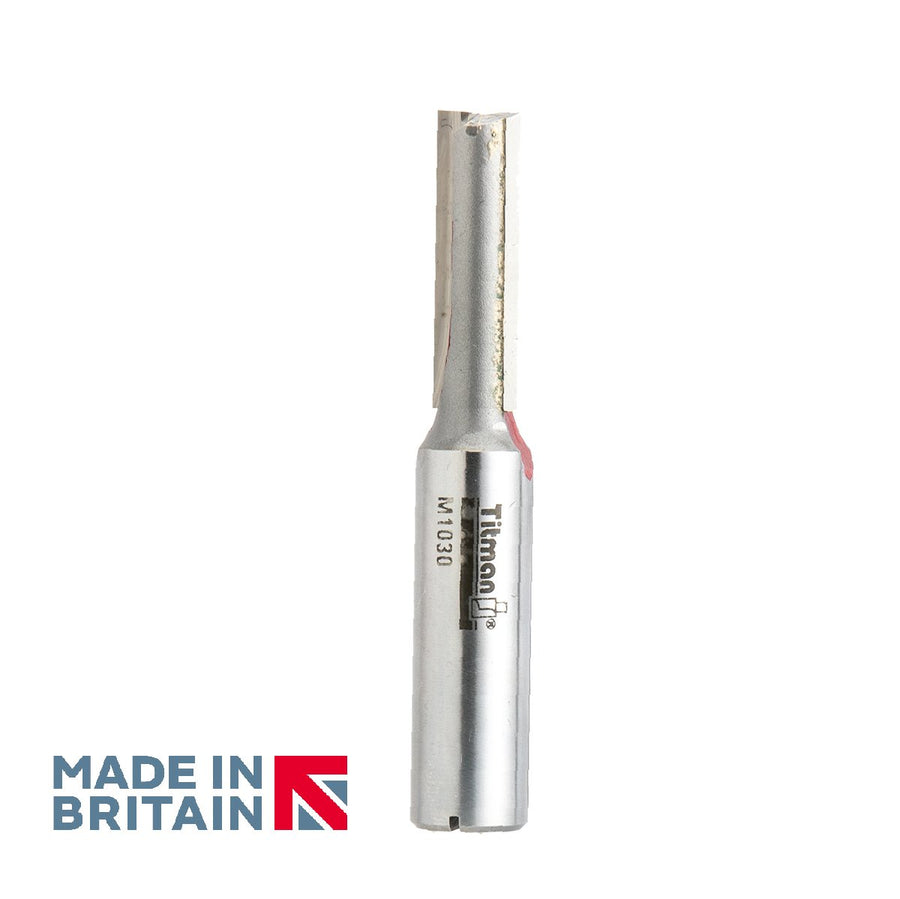 "1/2"" Shank 10mm Diameter Double Flute Straight Cutter - Made in Britain by Titman Tools - 362HTC"