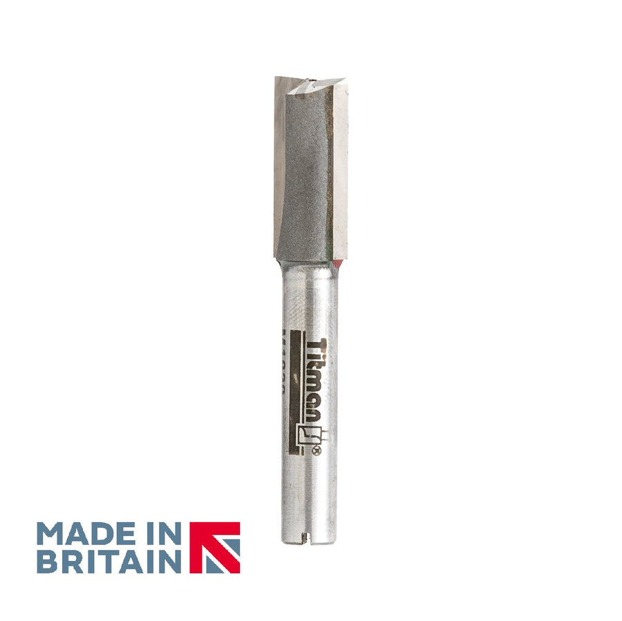 "1/4"" Shank 10mm Diameter Double Flute Straight Cutter - Made in Britain by Titman Tools - 36QTC"