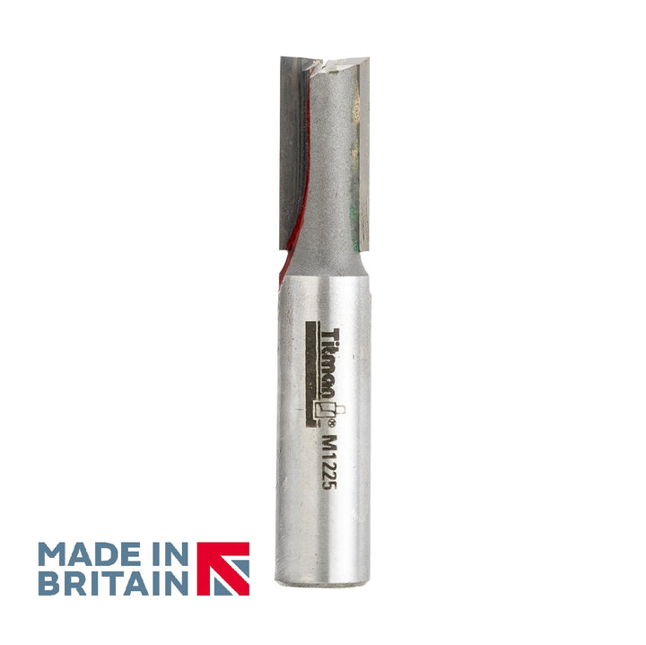 "1/2"" Shank 12mm Diameter Double Flute Straight Cutter - Made in Britain by Titman Tools - 371HTC"
