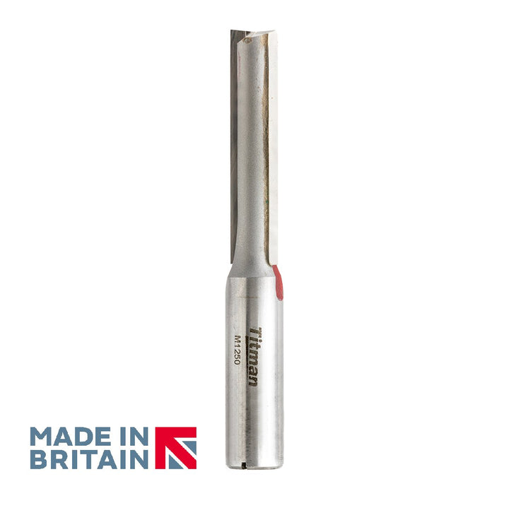 "1/2"" Shank 12mm Diameter Double Flute Straight Cutter - Made in Britain by Titman Tools - 373HTC"