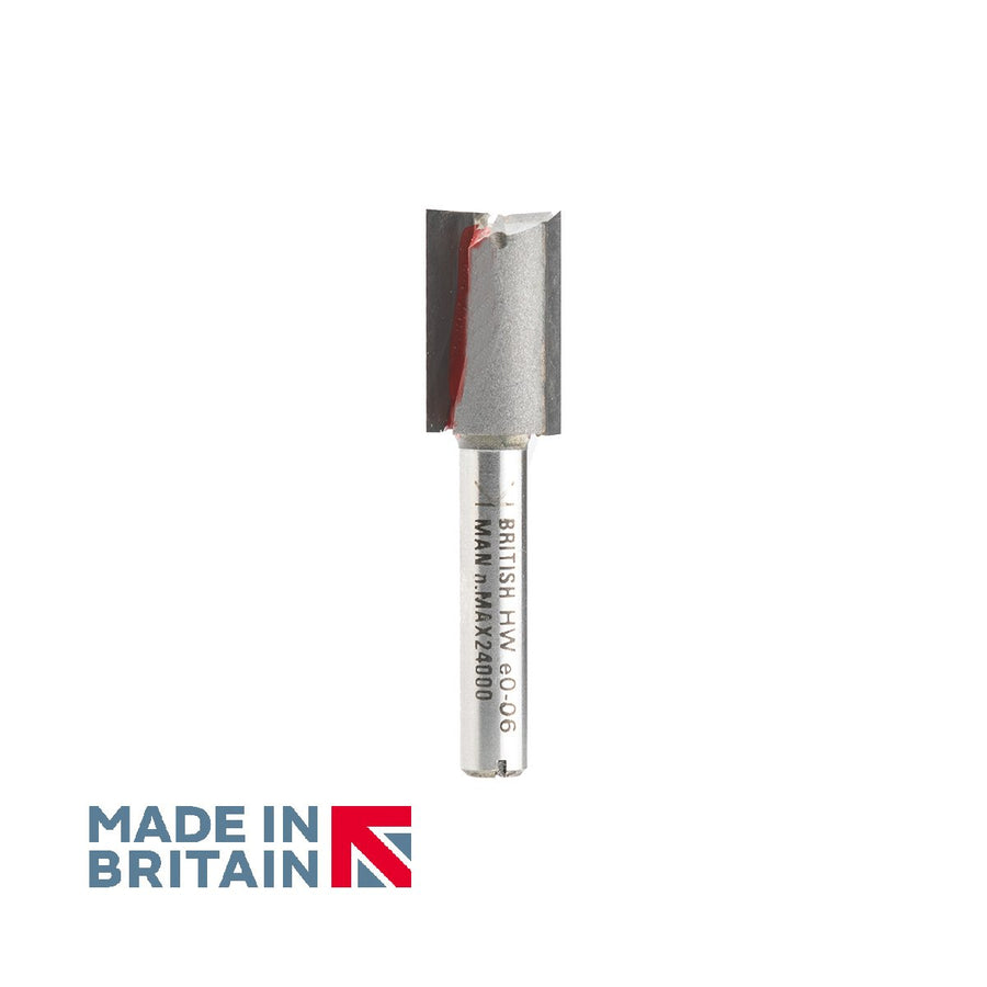 "1/4"" Shank 12.7mm Diameter Double Flute Straight Cutter - Made in Britain by Titman Tools - 380QTC"