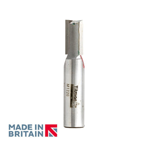 "1/2"" Shank 12mm Diameter Double Flute Straight Cutter - Made in Britain by Titman Tools - 38HTC"