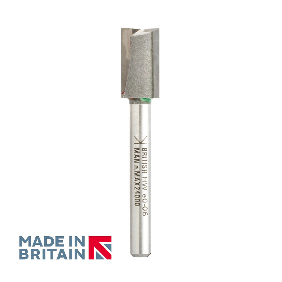 "1/4"" Shank 12mm Diameter Double Flute Straight Cutter - Made in Britain by Titman Tools - 38LQTC"