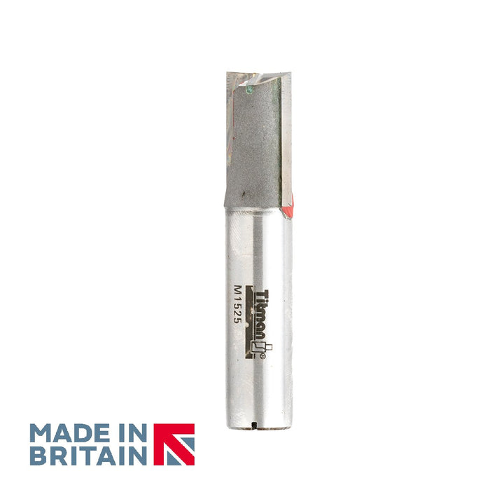"1/2"" Shank 15mm Diameter Double Flute Straight Cutter - Made in Britain by Titman Tools - 41HTC"