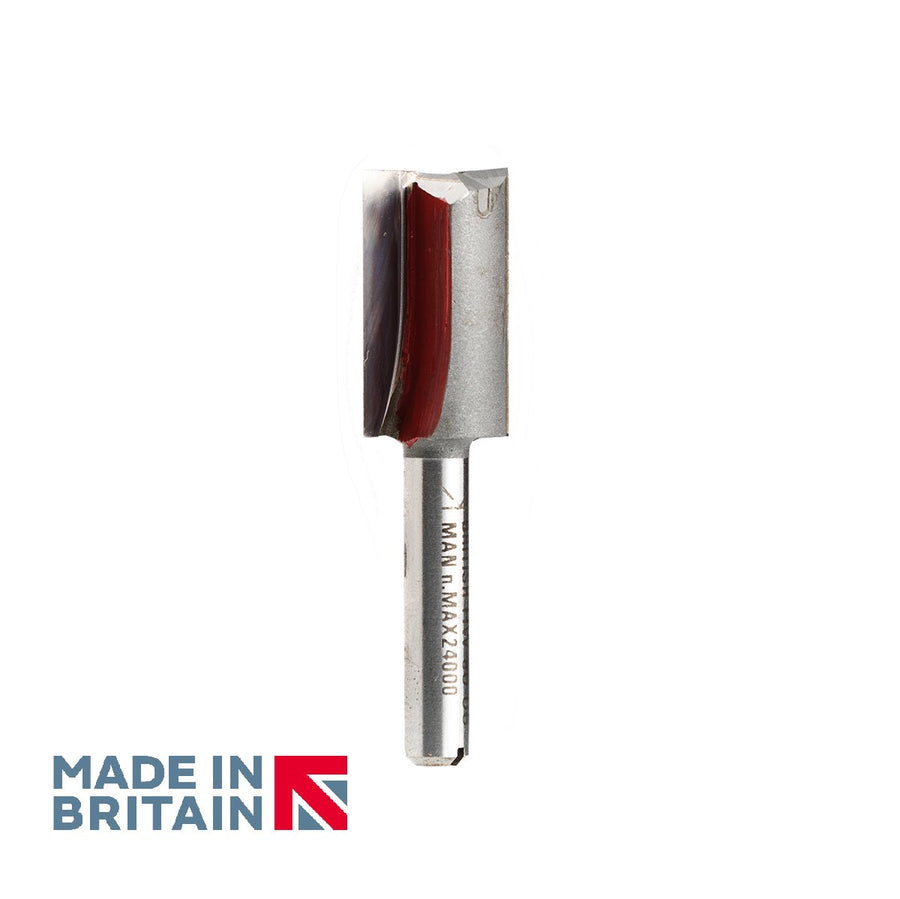 "1/4"" Shank 15mm Diameter Double Flute Straight Cutter - Made in Britain by Titman Tools - 41QTC"