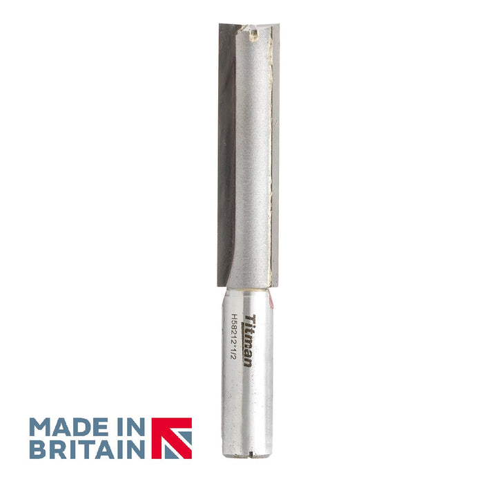 "1/2"" Shank 15.9mm Diameter Double Flute Straight Cutter - Made in Britain by Titman Tools - 422HTC"
