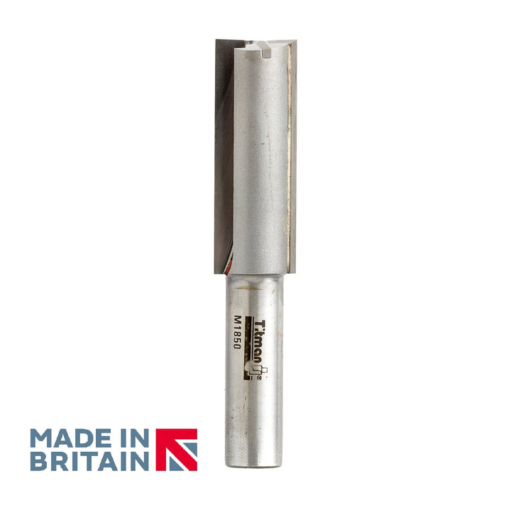 "1/2"" Shank 18mm Diameter Double Flute Straight Cutter - Made in Britain by Titman Tools - 430HTC"