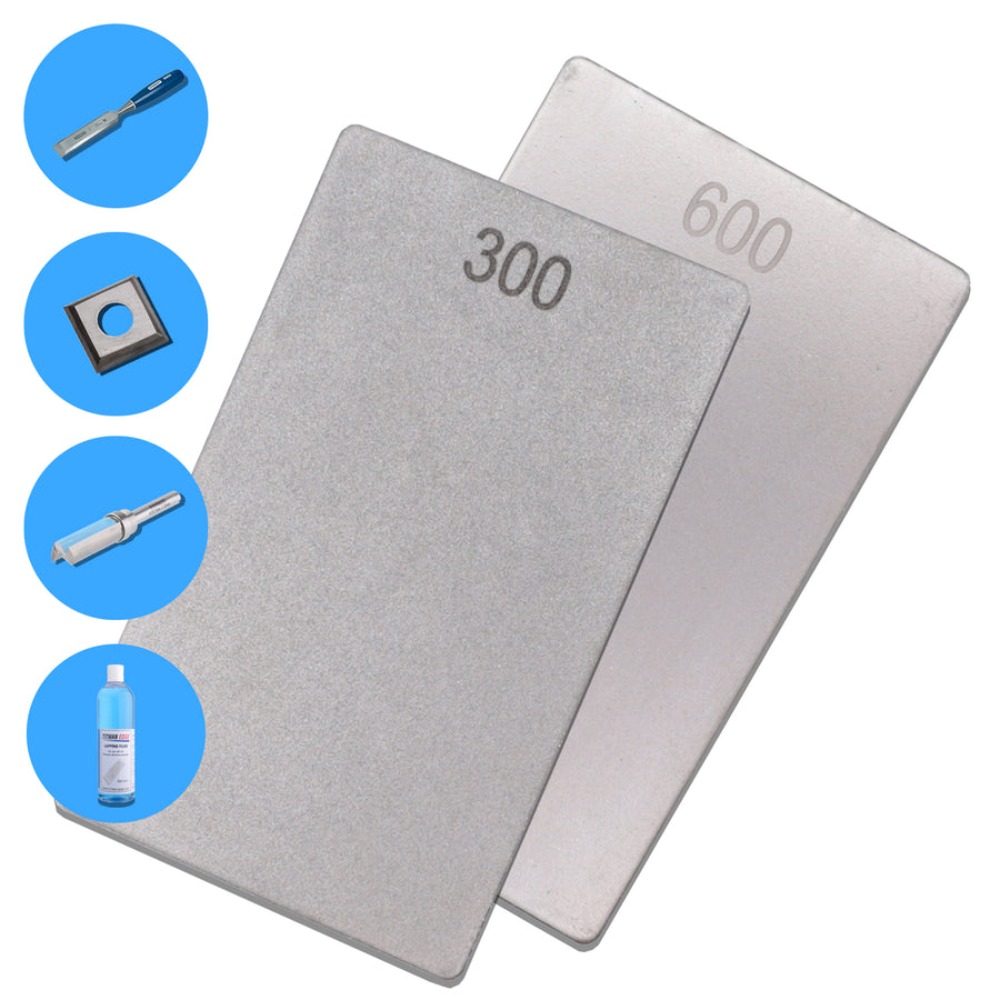 "Double-Sided Diamond General Purpose Credit Card Stone - 3"" x 2"" - 600 and 300 Grit - ECCFC"
