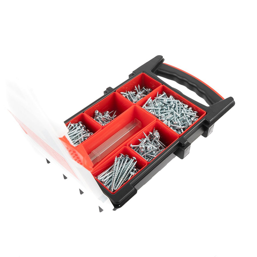 Pocket Hole Screw Selection - 650 Mixed Screws with free Square Drive Bit - EPHS650CASE