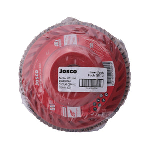 Josco - 115mm 60 Grit Ceramic Flap Disc - 3 Pack - JDC11560