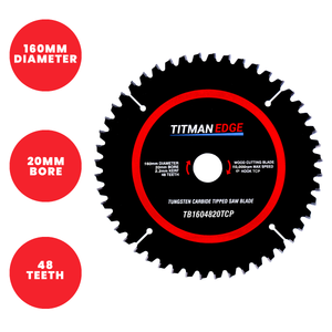 Titman Edge TCT Fine Finish Plunge Saw Blade 160mm x 20mm x 48 Tooth - TB1604820TCP