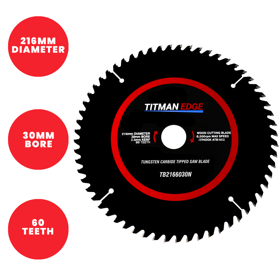 Titman Edge TCT Mitre Saw Blade 216mm x 30mm x 60 Tooth - TB2166030N
