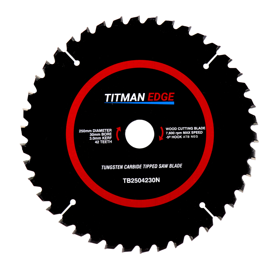Titman Edge Tools TCT Medium Finish Mitre Saw Crosscutting Saw Blade 250mm x 30mm x 42 - TB2504230N