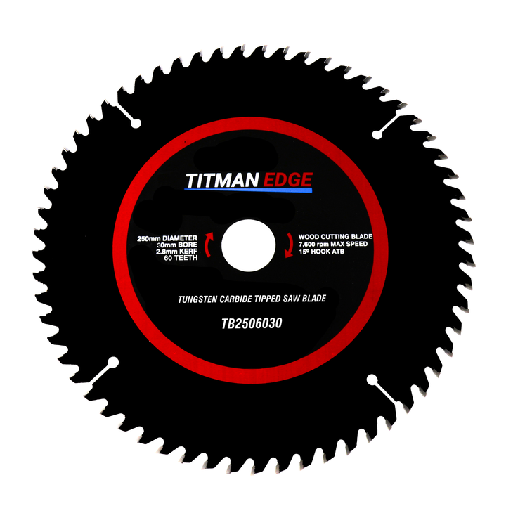 Titman Edge Tools Fine Finish Crosscutting Saw Blade TCT 250mm x 30mm 60 Tooth - TB2506030
