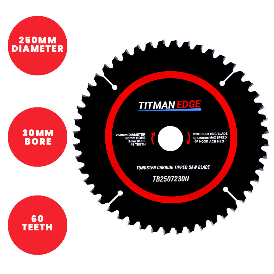 Titman Edge Tools TCT Extra Fine Finish Mitre Saw Crosscutting Saw Blade - 250mm x 30mm x 48 Tooth TCT - TB2507230N