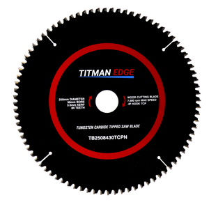 Titman Edge Tools TCT Saw Blade for Aluminium & Plastic 250mm x 30mm x 88 Tooth - TB2508430TCPN