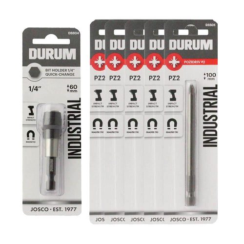 DURUM – 60mm 1/4″ Quick-Change  Bit Holder - DB804 - with FREE PZ2 Bits DB505B!