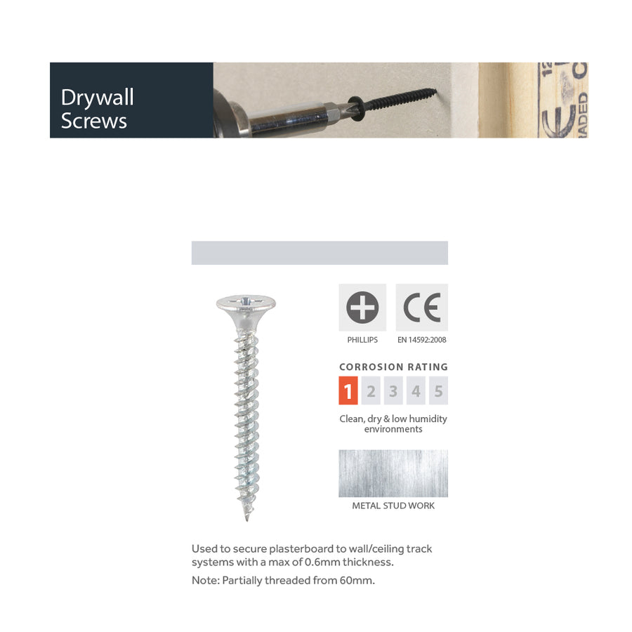 Drywall Screws - 4.8mm Diameter - Fine Thread - PH2- Bugle - Zinc
