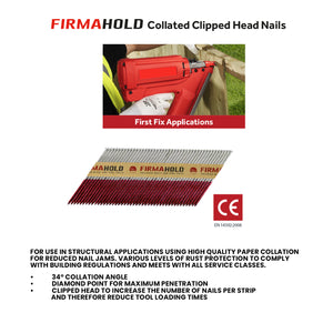 FirmaHold Collated Clipped Head Nails & Fuel Cells - Trade Pack - Plain Shank - 3.1 x 90/2CFC
