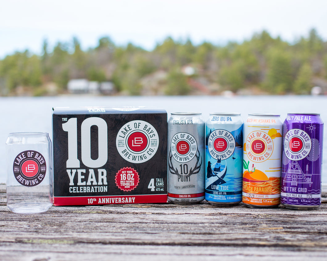 The 10 Year Celebration Pack - 4 x 473ml Cans & 16oz Dock Tumbler