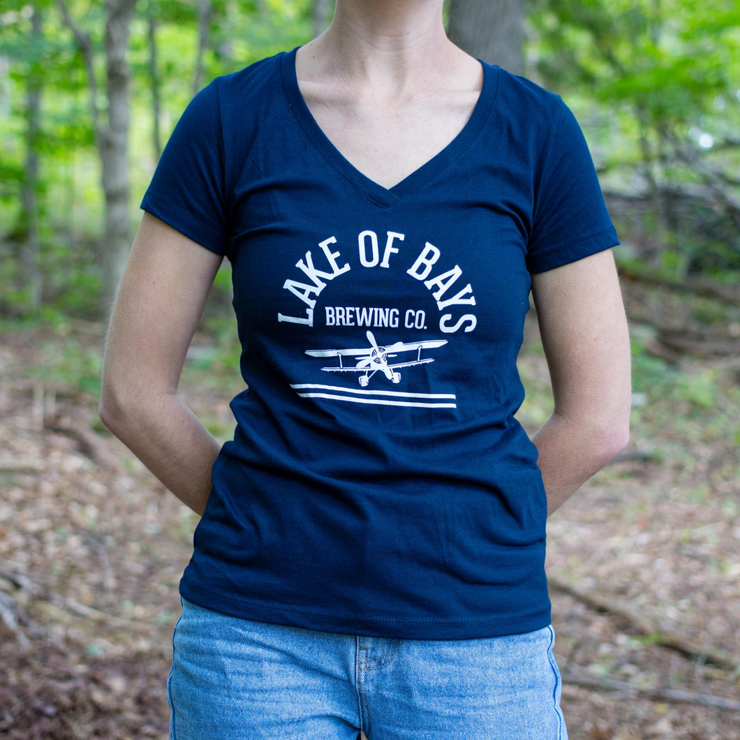 Bi-Plane Women's V-Neck - Midnight Navy