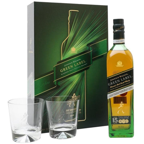 Johnnie Walker Green Label Gift Pack With 2 Glasses 700mL - Uptown Liquor