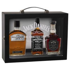 Jack Daniel's Family of Brands Wooden Gift Pack with Glass Case 700mL - Uptown Liquor