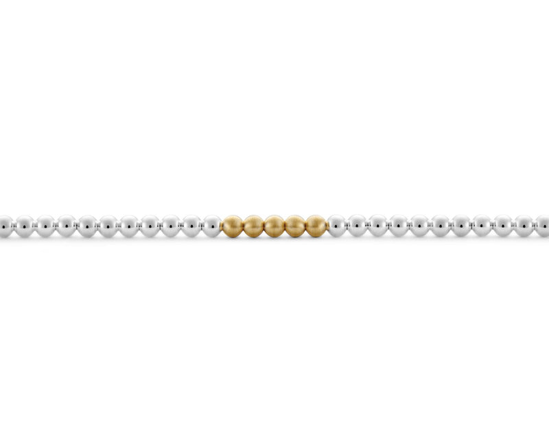 BEADS BRACELET LE 11G 925 SILVER & 725 YELLOW GOLD SLICK POLISHED