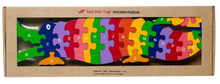 Load image into Gallery viewer, alligator educational wooden puzzle
