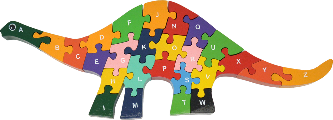 Eco-friendly, colorful and educational dinosaur puzzle, upper case letters, ABCs, wooden chunky pieces