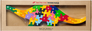 Wooden dinosaur puzzle with upper case letters, ABCs, fine motor skills, autism puzzle, montessori