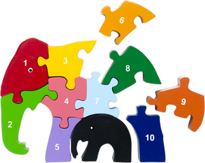 wooden number puzzle elephant