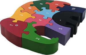 elephant wooden puzzle numbers