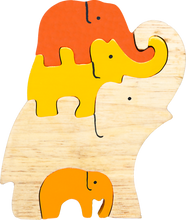 Load image into Gallery viewer, small wooden puzzle elephants