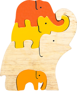 small wooden puzzle elephants