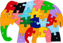 Load image into Gallery viewer, elephant wooden puzzle letters lower-case