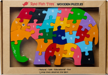 Load image into Gallery viewer, 3d wooden elephant puzzle letters