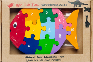 wooden number puzzle fish